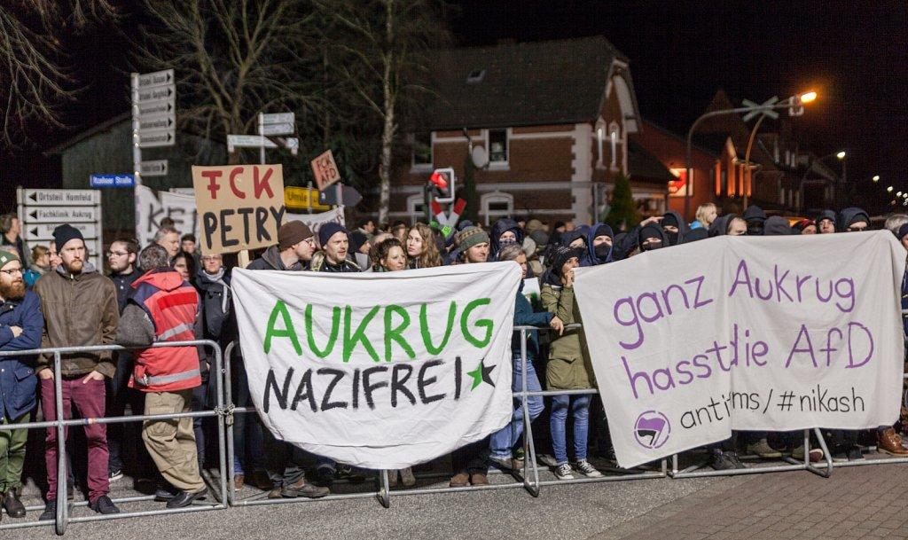 Protest gegen den Wahlkampfauftakt der AfD in Aukrug