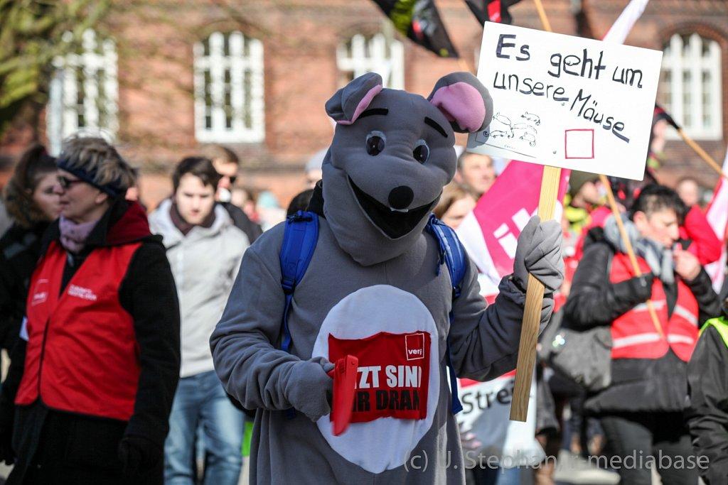 Warnstreik in der Landeshauptstadt Kiel
